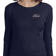 Ladies White Ford Pocket Print Long Sleeve Shirt