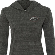 Ladies White Ford Pocket Print Tri Blend Hoodie Shirt
