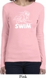 Ladies White Penguin Power Swim Long Sleeve Shirt