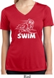Ladies White Penguin Power Swim Moisture Wicking V-neck