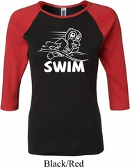 Ladies White Penguin Power Swim Raglan Shirt