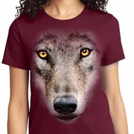 Ladies Wolf Shirt Big Wolf Face Tee T-Shirt