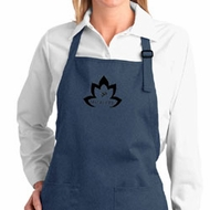 Ladies Yoga Apron Black Namaste Lotus Full Length Apron with Pockets