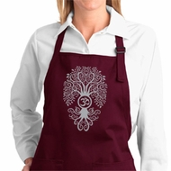 Ladies Yoga Apron Grey Bodhi Tree Full Length Apron with Pockets