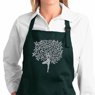 Ladies Yoga Apron Grey Tree Pose Full Length Apron with Pockets