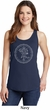 Ladies Yoga Circle Ganesha White Print Tank Top