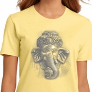 Ladies Yoga Shirt 3D Ganesha Lights Organic Tee T-Shirt
