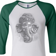 Ladies Yoga Shirt 3D Ganesha Lights Raglan Tee T-Shirt