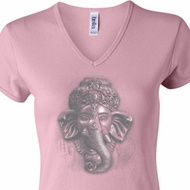 Ladies Yoga Shirt 3D Ganesha Lights V-neck Tee T-Shirt