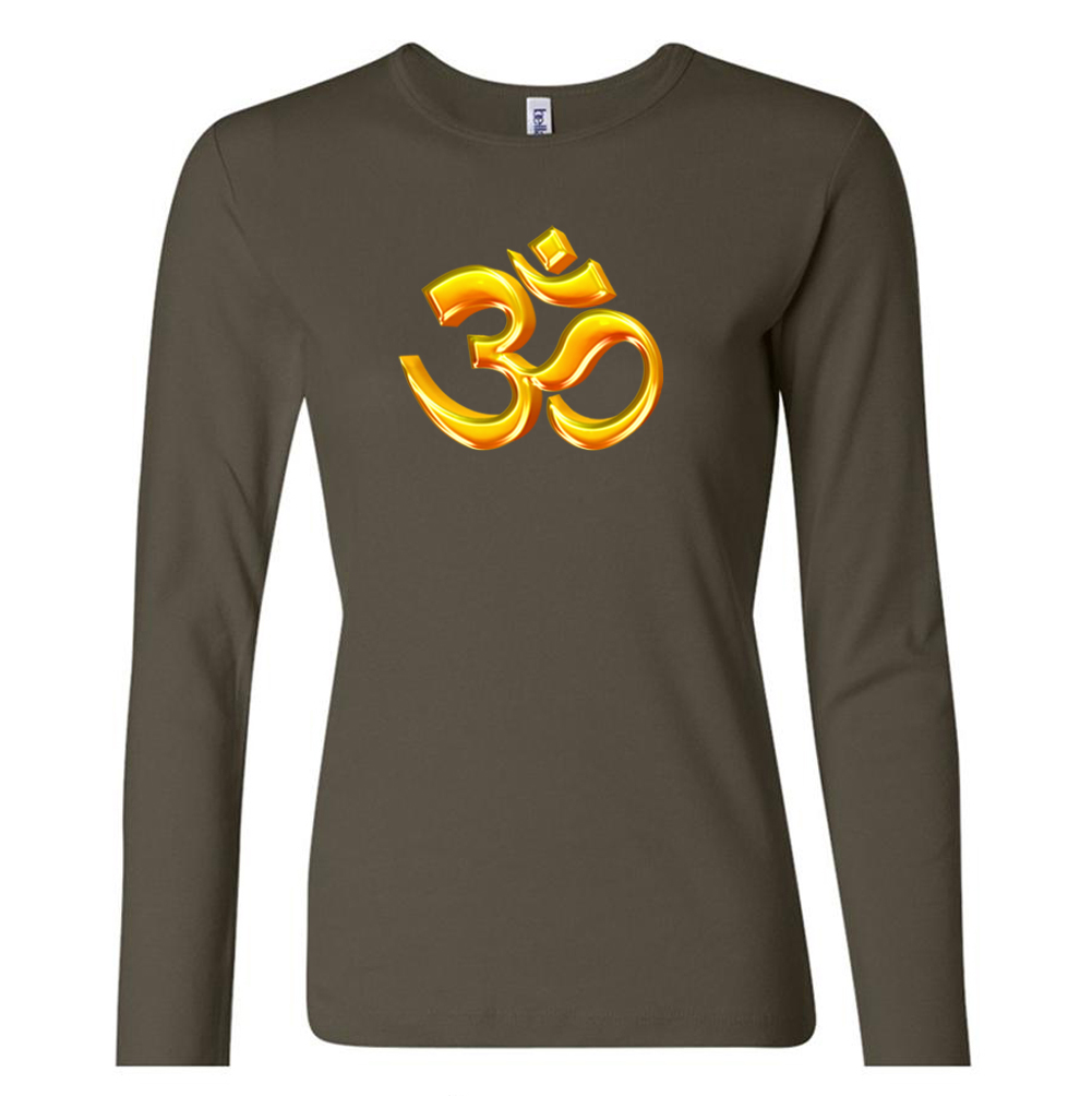 Ladies yoga shirt 3d om long sleeve tee t shirt 3d om Yoga shirts with sleeves