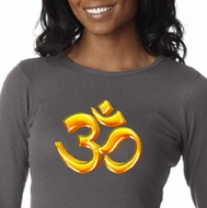 Ladies Yoga Shirt 3D OM Long Sleeve Thermal Tee T-Shirt
