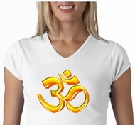 Ladies Yoga Shirt 3D OM V-neck Tee T-Shirt