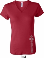 Ladies Yoga Shirt 7 Chakras Bottom Print V-neck Tee T-Shirt