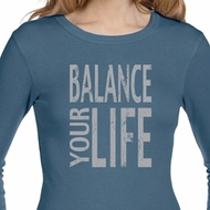 Ladies Yoga Shirt Balance Your Life Long Sleeve Thermal Tee T-Shirt