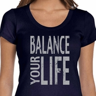 Ladies Yoga Shirt Balance Your Life Scoop Neck Tee T-Shirt