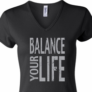 Ladies Yoga Shirt Balance Your Life V-neck Tee T-Shirt
