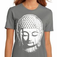 Ladies Yoga Shirt Big Buddha Head Organic Tee T-Shirt