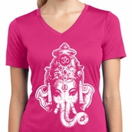 Ladies Yoga Shirt BIG Ganesha Head Moisture Wicking V-neck Tee T-Shirt