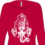 Ladies Yoga Shirt BIG Ganesha Head Off Shoulder Tee T-Shirt