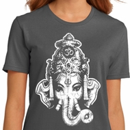 Ladies Yoga Shirt BIG Ganesha Head Organic Tee T-Shirt
