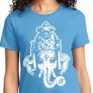 Ladies Yoga Shirt BIG Ganesha Head Tee T-Shirt