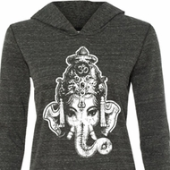 Ladies Yoga Shirt BIG Ganesha Head Tri Blend Hoodie Tee T-Shirt
