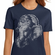 Ladies Yoga Shirt BIG Ganesha Profile Organic Tee T-Shirt