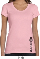 Ladies Yoga Shirt Black 7 Chakras Bottom Print Scoop Neck Tee T-Shirt