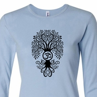 Ladies Yoga Shirt Black Bodhi Tree Long Sleeve Tee T-Shirt