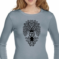 Ladies Yoga Shirt Black Bodhi Tree Long Sleeve Thermal Tee T-Shirt