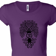 Ladies Yoga Shirt Black Bodhi Tree Longer Length Tee T-Shirt