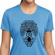 Ladies Yoga Shirt Black Bodhi Tree Moisture Wicking Tee T-Shirt