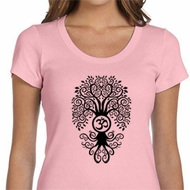 Ladies Yoga Shirt Black Bodhi Tree Scoop Neck Tee T-Shirt