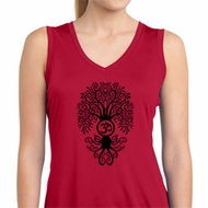 Ladies Yoga Shirt Black Bodhi Tree Sleeveless Moisture Wicking Tee