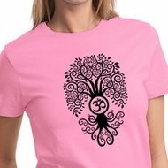 Ladies Yoga Shirt Black Bodhi Tree Tee T-Shirt