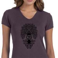 Ladies Yoga Shirt Black Bodhi Tree V-neck Tee T-Shirt