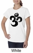 Ladies Yoga Shirt Black Distressed OM Organic Tee T-Shirt