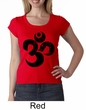 Ladies Yoga Shirt Black Distressed OM Scoop Neck Tee T-Shirt