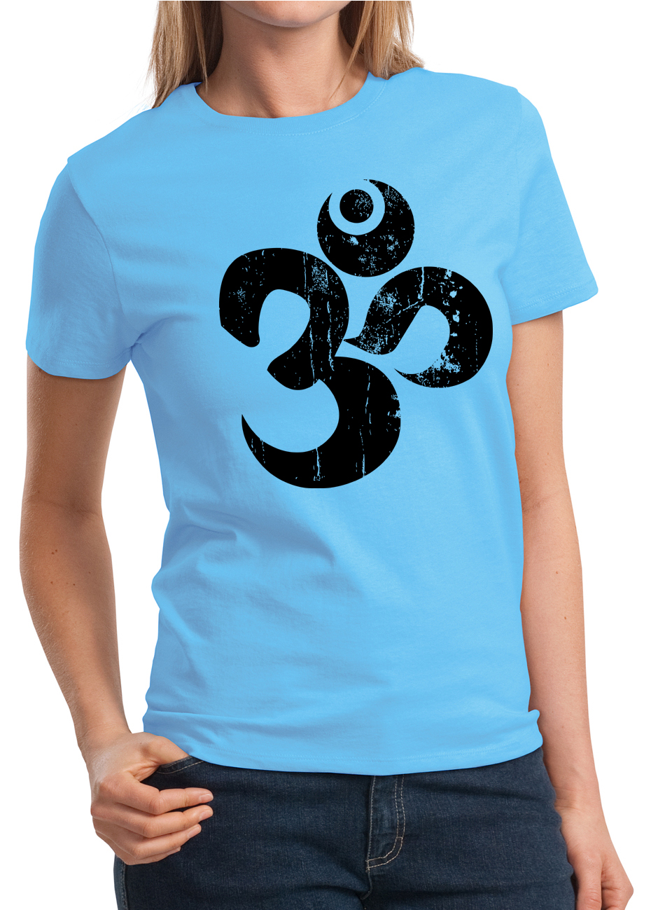Ladies yoga shirt black distressed om tee t shirt black for How to make a distressed shirt