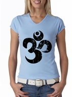 Ladies Yoga Shirt Black Distressed OM V-neck Tee T-Shirt