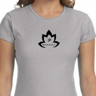 Ladies Yoga Shirt Black Namaste Lotus Crewneck Tee T-Shirt