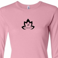 Ladies Yoga Shirt Black Namaste Lotus Long Sleeve Tee T-Shirt