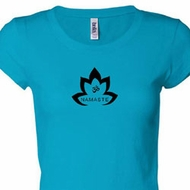 Ladies Yoga Shirt Black Namaste Lotus Longer Length Tee T-Shirt
