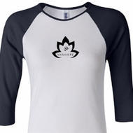 Ladies Yoga Shirt Black Namaste Lotus Raglan Tee T-Shirt