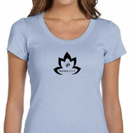 Ladies Yoga Shirt Black Namaste Lotus Scoop Neck Tee T-Shirt
