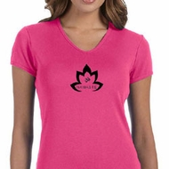 Ladies Yoga Shirt Black Namaste Lotus V-neck Tee T-Shirt
