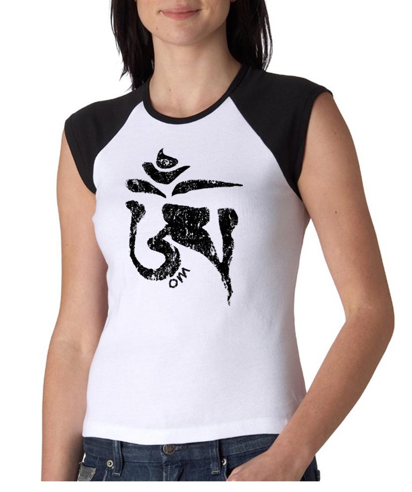 Ladies yoga shirt black tibetan om cap sleeve raglan tee t Yoga shirts with sleeves