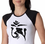 Ladies Yoga Shirt Black Tibetan Om Raglan Tee T-shirt