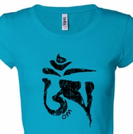 Ladies Yoga Shirt Black Tibetan Om Longer Length Tee T-shirt
