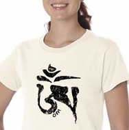 Ladies Yoga Shirt Black Tibetan Om Organic Tee T-shirt